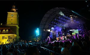 Golden Stag Festival - The stage of the Golden Stag Festival next to Braşov's old city hall