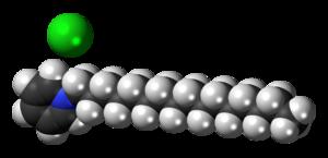Cetylpyridinium chloride - Image: Cetylpyridinium chloride 3D spacefill