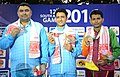 Chain Singh of India won Gold Medal, Gagan Narang of India won Silver Medal and SMM Samarkoon of Sri Lanka won Bronze Medal in the 50m Air Rifle Men's Individual event in Shooting, at the 12th South Asian Games-2016.jpg