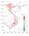 Change in annual average temperature (°C) during the last 52 years in Vietnam.png