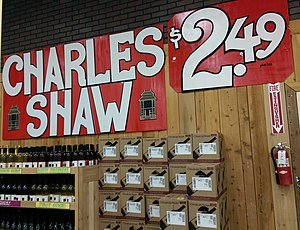 Charles Shaw wine - Charles Shaw display in California after the 2013 price increase to $2.49