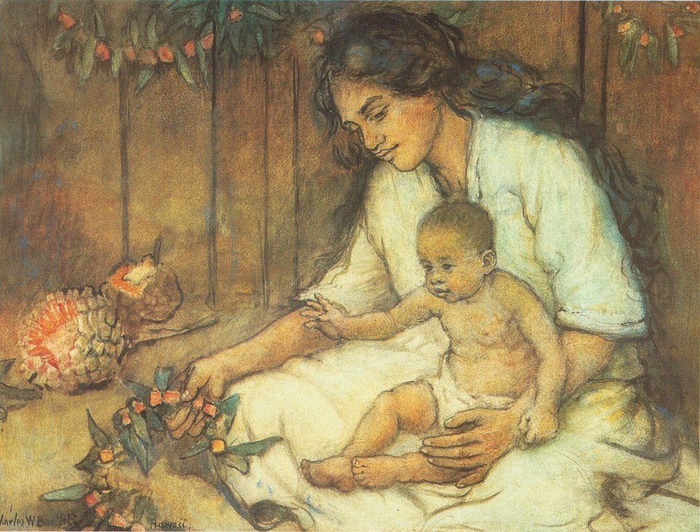 https://upload.wikimedia.org/wikipedia/commons/thumb/5/51/Charles_W._Bartlett_-_%27Hawaiian_Mother_and_Child%27%2C_watercolor_and_pastel_on_art_board%2C_c._1920.jpg/1011px-Charles_W._Bartlett_-_%27Hawaiian_Mother_and_Child%27%2C_watercolor_and_pastel_on_art_board%2C_c._1920.jpg