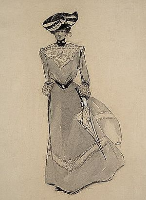 "Charlotte Harding -  A 'quick change' for the rest of the afternoon, circa 1901; charcoal, wash, and opaque white on layered paper; published in ""Our Foolish Virgins"" by Eliot Gregory, The Century Magazine, November 1901"