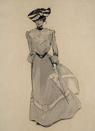 """Charlotte Harding -  A 'quick change' for the rest of the afternoon, circa 1901; charcoal, wash, and opaque white on layered paper; published in """"Our Foolish Virgins"""" by Eliot Gregory, The Century Magazine, November 1901"""