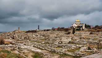 Greeks in pre-Roman Crimea - St. Vladimir's Cathedral overlooks the extensive excavations of Chersonesus.