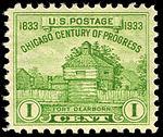 Chicago Century of Progress Fort Dearborn 1c 1933 issue U.S. stamp.jpg