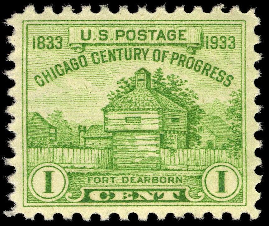 Chicago Century of Progress Fort Dearborn 1c 1933 issue U.S. stamp