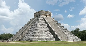 History of Mexico - The Castillo, Chichen Itza, Mexico, ca. 800-900 CE. A temple to Kukulkan sits atop this pyramid with a total of 365 stairs on its four sides. At the spring and fall equinoxes, the sun casts a shadow in the shape of a serpent along the northern staircase.
