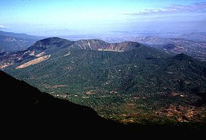 Chinameca (volcano) - Chinameca stratovolcano is seen here from the SE near the summit of neighboring San Miguel volcano.