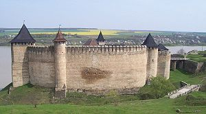 Khotyn Fortress - Panoramic view of the fortress's walls.