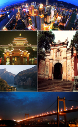 Clockwise from top: Jiefangbei CBD Skyline, the Temple of the White Emperor (Baidicheng), the Egongyan Bridge, the Qutang Gorge, and the Great Hall of the People