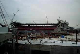 Riverfront Stadium - Cinergy Field after the left and center field stands were removed.