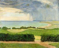Johann Vincenz Cissarz: Plain landscape with water.