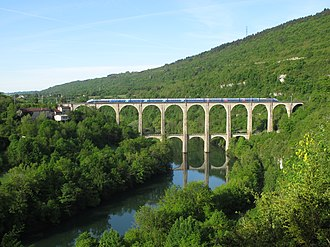 Economy of France - A double-decker TGV train crossing the Cize–Bolozon viaduct