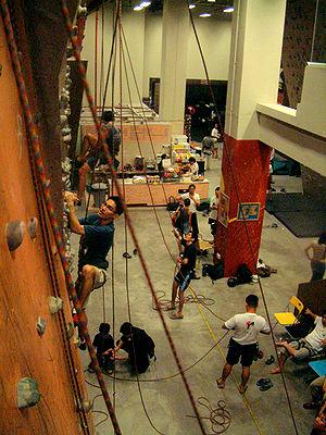 An indoor climbing center in Singapore