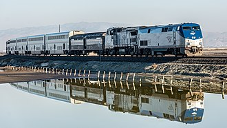 Coast Starlight - The southbound Coast Starlight in Alviso, California in 2013