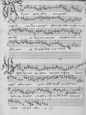 Codex Speciálník - Beginning of Josquin des Prez's Ave Maria (p.64)