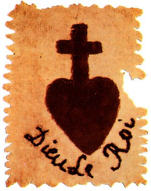 War in the Vendée - Sacred Heart patch of the Vendean royalist insurgents. The French motto 'Dieu, le Roi' means 'God, the King'.