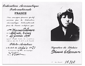 Bessie Coleman's aviation license issued on June 15, 1921