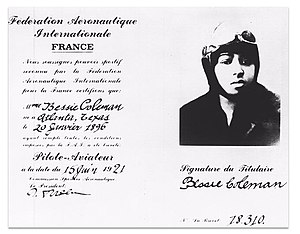 Bessie Coleman - Coleman's aviation license.