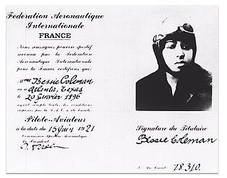 Bessie Coleman - Coleman's aviation license.