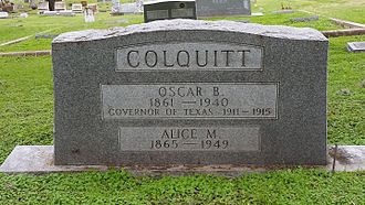 Oscar Branch Colquitt - Oscar Colquitt, Oakwood Cemetery