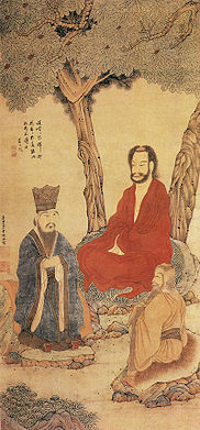 Confucius, Lao tzu and Buddhist Arhat by Ding Yunpeng (ca. 1547-1628) a Ming dynasty painter, painting at the Palace Museum, Beijing