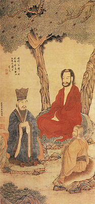 Confucius Lao-tzu and Buddhist Arhat by Ding Yunpeng.jpg