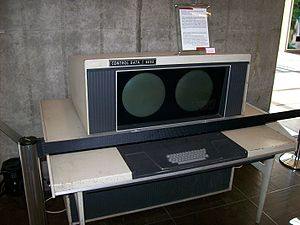 CDC 6600 - A CDC 6600 system console. The displays were driven through software, primarily to provide text display (in a choice of three sizes). It also provided a way to draw simple graphics. Unlike more modern displays, the console was a vector drawing system rather than a raster system. The consoles had a single font where each glyph was a series of vectors.