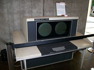 CDC 6600 - A CDC 6600 system console. This design was a major innovation, in that the screens and keyboard replaced hundreds of switches and blinking lights common in contemporary system consoles. The displays were driven through software, primarily to provide text display in a choice of three sizes. It also provided a way to draw simple graphics. Unlike more modern displays, the console was a vector drawing system, rather than a raster system. The consoles had a single font, where each glyph was a series of vectors.