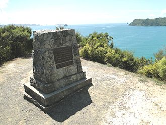 Whitianga - Cairn at Cook's Beach to commemorate Cook's observation of the transit of Mercury