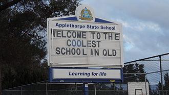 Applethorpe, Queensland - Coolest school in Queensland sign, Applethorpe State School, 2015