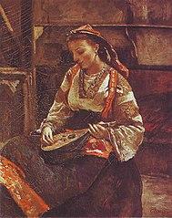 Italienne Assise Jouant de la Mandoline
