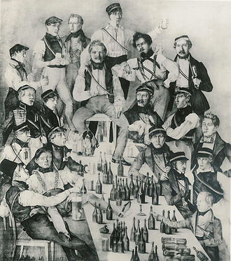Members of a German Student Corps (Duchy of Brunswick) shown drinking in a picture from 1837. Corps Brunsviga Gottingen - 1837.jpg
