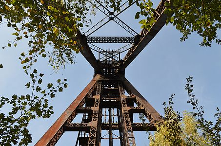 """Winding tower of the former coal mine named """"Pêchon""""."""