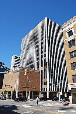 Pictured is the County-City Building in downtown South Bend. The County-City Building houses the Office of the Mayor, as well as many other municipal and public offices.