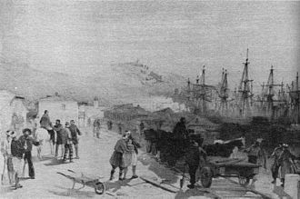 Grand Crimean Central Railway - Main street of Balaclava showing the railway, from a painting by William Simpson