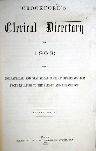 Crockford's Clerical Directory - Crockford's Clerical Directory 1868, published by Horace Cox, London