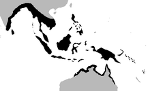 Range of the saltwater crocodile in black