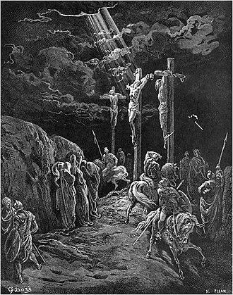 "Gustave Doré's illustrations for La Grande Bible de Tours - ""The Crucifixion"", an engraving from Doré's illustrations for La Grande Bible de Tours (1866). It depicts the situation described in Luke 23."
