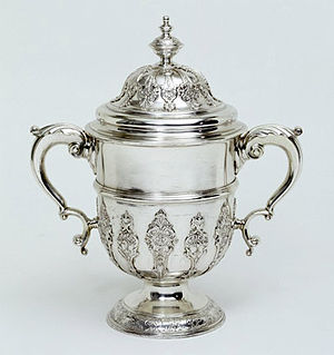 Webb Ellis Cup - The cup and cover by Paul de Lamerie inspired Carrington and Co to design the trophy.