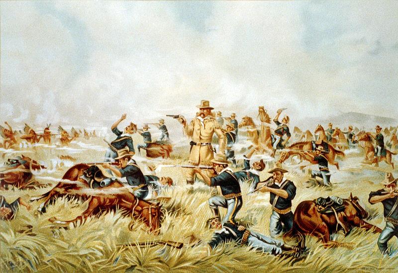 Una cromolitografía de 1889, titulada La masacre de Custer en Big Horn, Montana - 25 de junio de 1876, de autor desconocido.