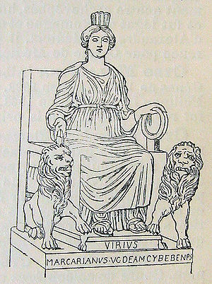 Phrygians - The Phrygian goddess Cybele with her attributes