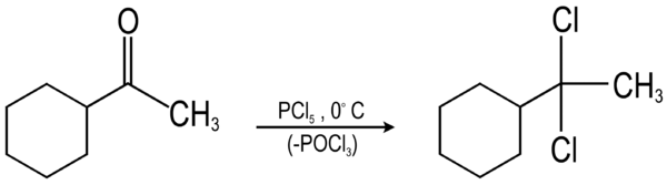 Cyclohexyl methyl ketone to gem-dichloride.png