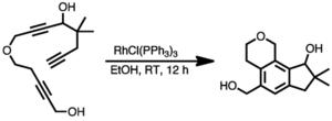 Alkyne trimerisation - Image: Cyclotrimerisation from a single triyne