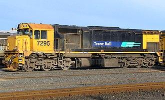"New Zealand DF class locomotive (1979) - DFT 7295 in Dunedin in former Tranz Rail ""Bumble Bee"" colours"