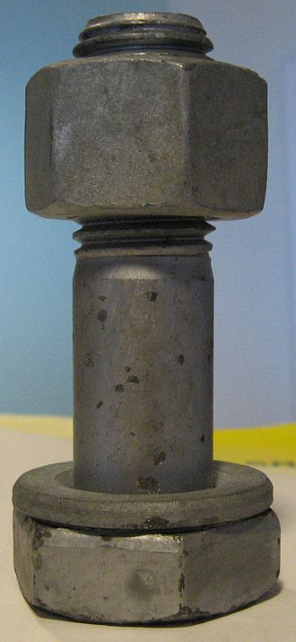 Screw - A structural bolt with a hex nut and washer