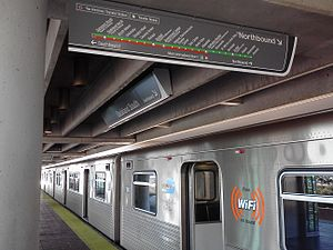 Dadeland - Miami Metrorail train at Dadeland South Station. Dadeland is directly served by two Metrorail stations.