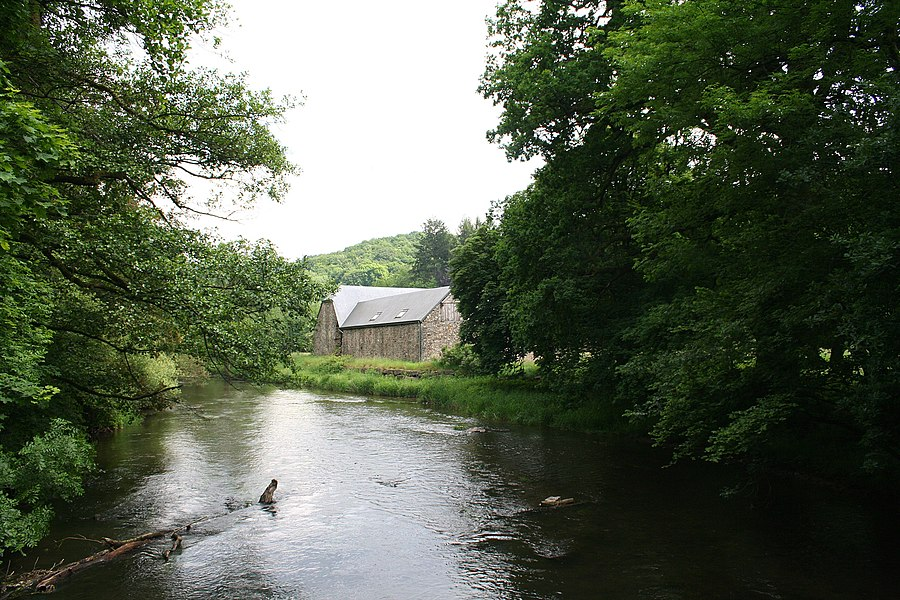 Daverdisse  (Belgium), the Lesse river and the Mohimont farm where the prince Pierre Bonaparte has lived (1838-1848).