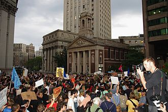 Timeline of Occupy Wall Street - Protesters demonstrate outside NYPD headquarters on September 30, 2011 (day 14).